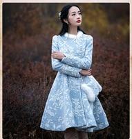 2018 Winter Women Coat Vintage Retro Full Sleeves Embroidery Fur neck Closed Waist Woolen Outerwear Coat