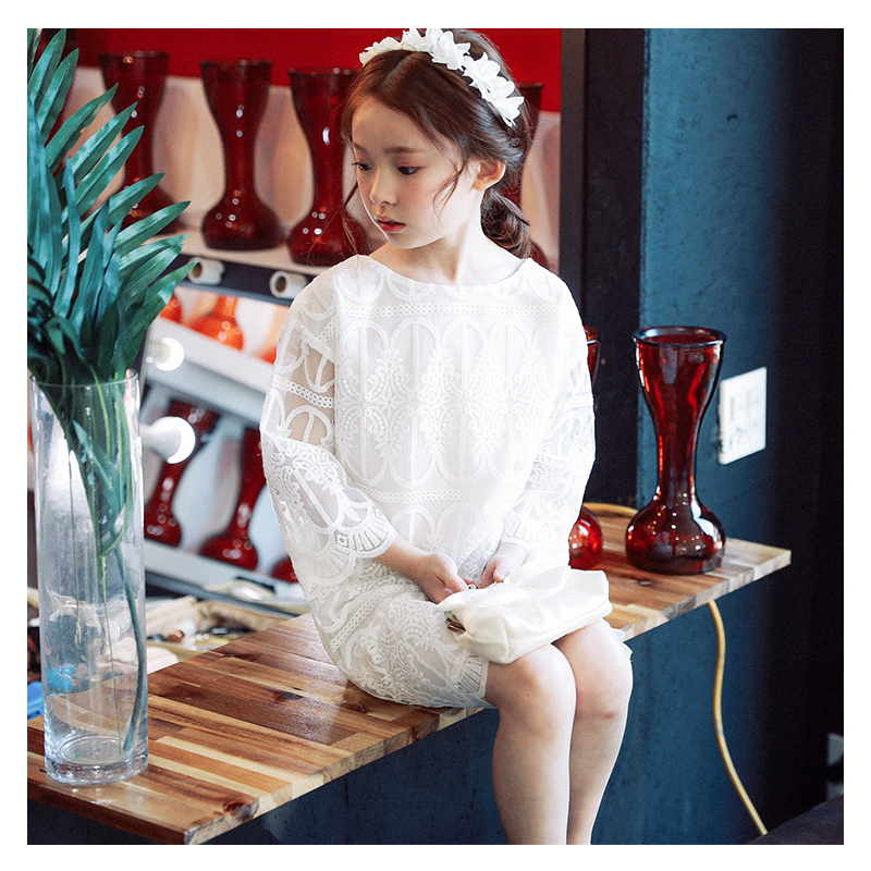 Kids Girls White Summer Children Girls Dress Lace Hollow Dress 2018 Spring Teenager Full Sleeve Crew Neck Princess Party Dress yellow hollow design crew neck flared sleeves dress