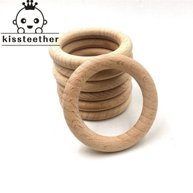 50mm Nature Beech Wooden Ring Teether Baby Teether Wood Beads Baby Infants Teething Care Product DIY Wooden Teethers Necklace
