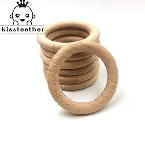 Image 1 - 50mm natura buk drewniany pierścień gryzak dziecko gryzak koraliki drewniane niemowlęta ząbkowanie produkt do pielęgnacji DIY drewniane gryzaki naszyjnik