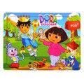 Juguetes del bebé Regalo 40 Unids Rompecabezas de Dibujos Animados Dora/Tigre/Gato De Madera Rompecabezas De Madera Juguetes Educativos Para Niños BirthdayGift