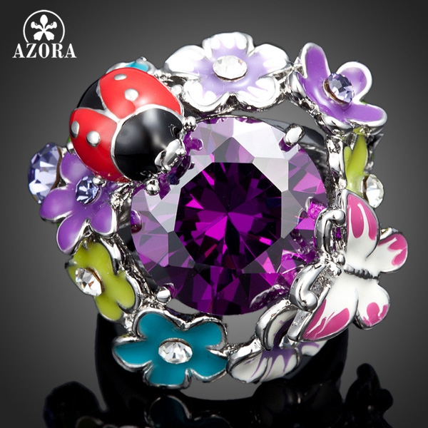 AZORA White Gold Color Purple Stellux Austrian Crystal Beetles and Butterflies and Flowers In a Ring TR0029