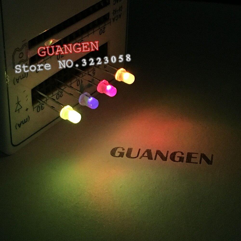 1000PCS/lot F3/3mm (Slowly Discolored) Diffused RGB Rainbow Slow Flashing Flash