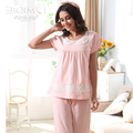 Summer Cotton Pajamas Lace Round Neck Women Pajama Sets Polka Dot Sleep Lounge Pyjamas Short Sleeve Nightwear Casual Homewear