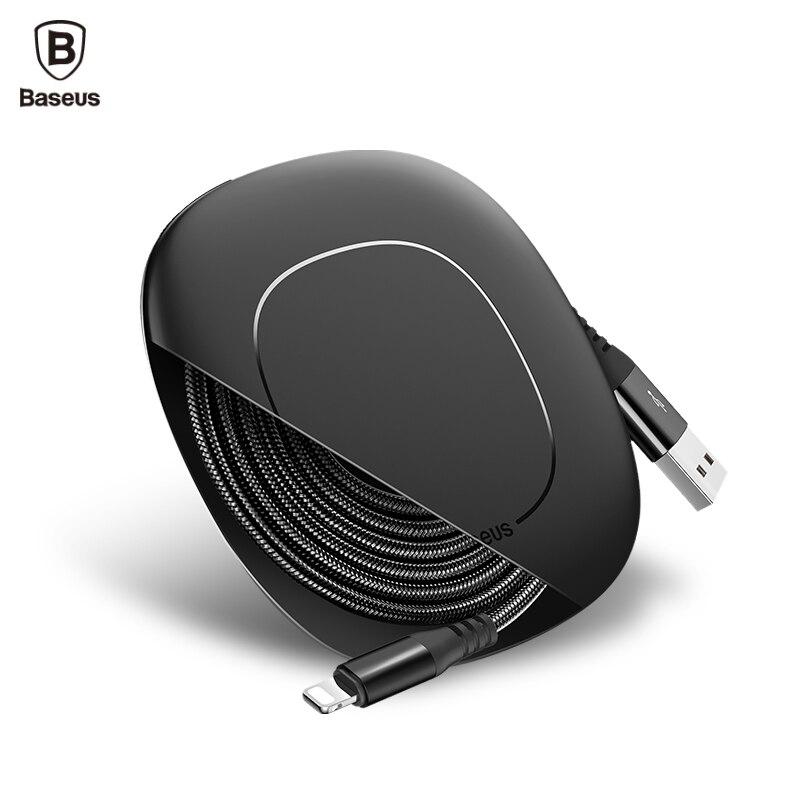 BASEUS USB кабель для iPhone 7 6 5 iPad мобильный телефонный кабель с Устройства для сматывания шнуров клип 2A для iphone Зарядное устройство кабель зарядк…