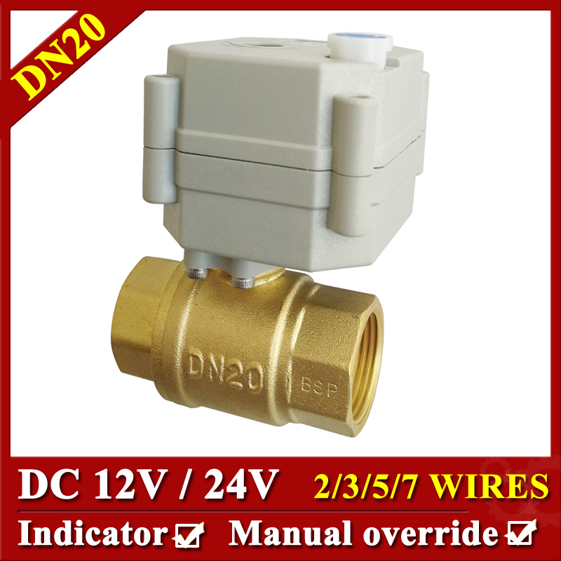 24VDC 12VDC BSP/NPT brass 3/4'' electric actuator valve 2/3/5/7 wires motorized ball valve with manual override and indicator mini brass ball valve panel mountable 450psi with lever handle chrome plated malexfemale npt