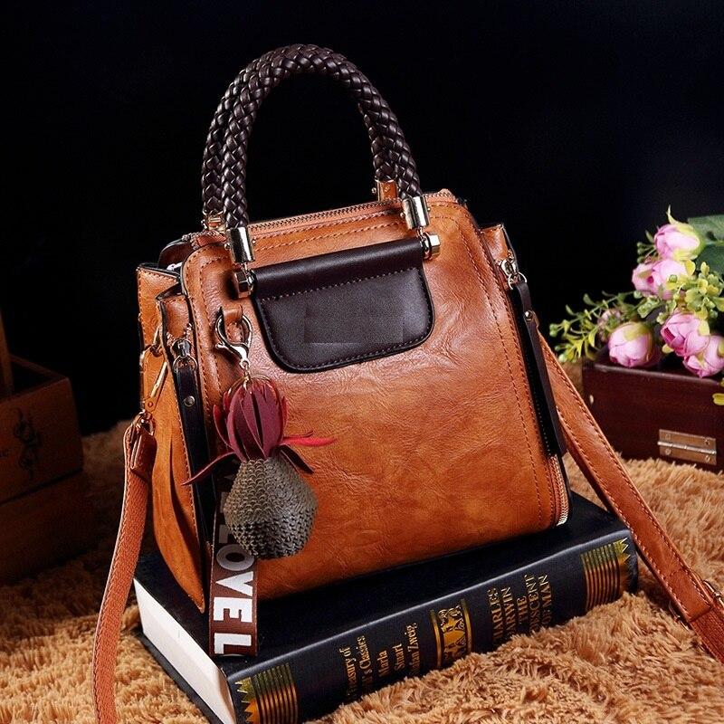 Vintage cuero genuino bolsos de lujo Bolsos De Mujer diseñador famosa marca Retro hombro bolsa aceite cera mensajero bolsa nuevo T38