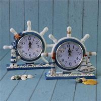 해상 앵커 선박 보트 스티어링 휠 시간 시계 테이블 장식