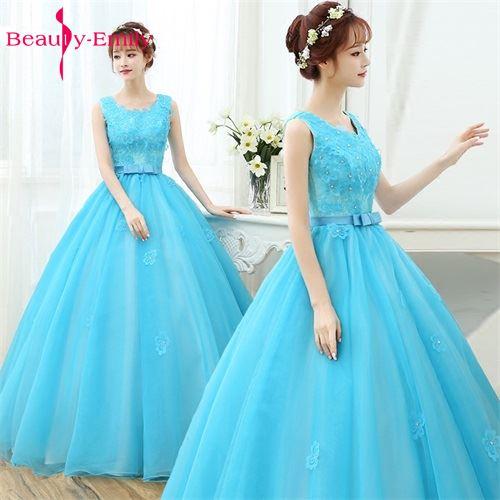 Mariage bleu ciel sans manches mode moderne belle longueur De plancher robe Vestido De Noiva robe robes De mariée