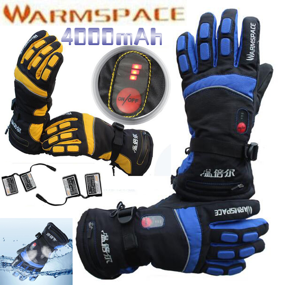 1 Pair 4000mAh Rechargeable Battery With Smart Switch ON/OFF Electric Heated Warm Glove Winter Outdoor Work Ski Warmer Gloves 1 pair 4000mah rechargeable battery with smart switch on off electric heated warm glove winter outdoor work ski warmer gloves