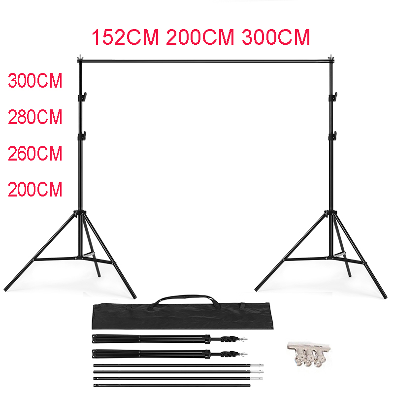 PHOTO BACKDROP STAND KIT Photo Studio Background Support T Shape Backdrop for Studio Photo 152cm,200cm, 260cm, 280cm, 300cm(China)