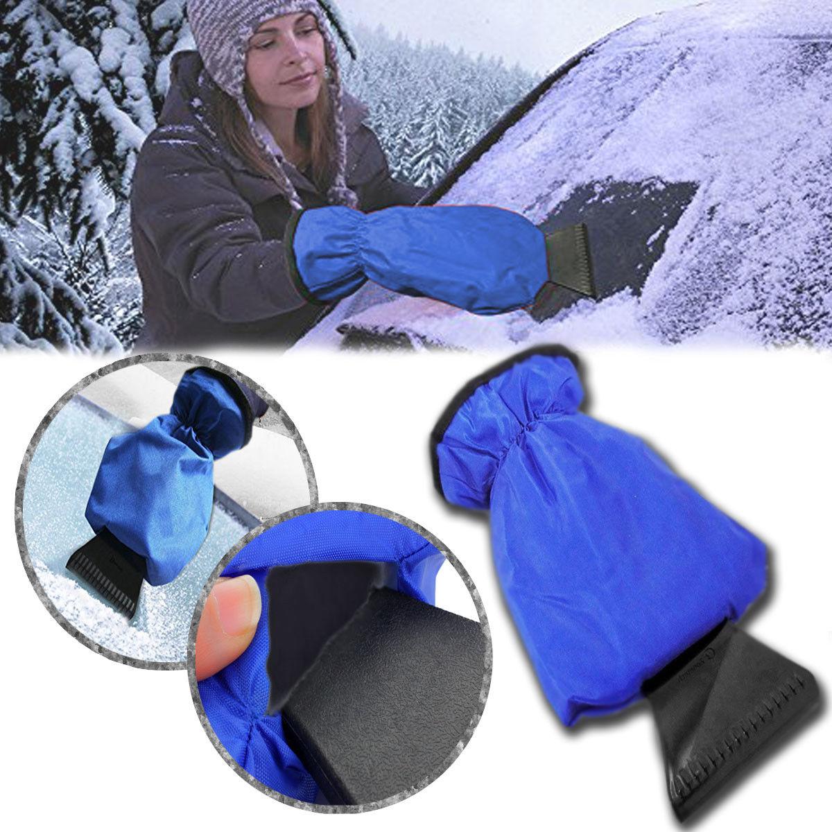 Синий Водонепроницаемый автомобиля лед снег скребок Митт флисовые перчатки окно лобовое стекло