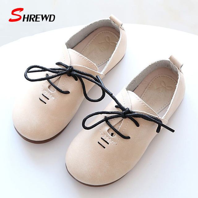 Shoes Girls Kids 2017 New Spring Casual Solid Color Children Girl Leather Shoes Simple Lacing Kids Shoes Insole 16-22cm 9548Z