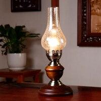 Классический ретро керосиновая лампа. Стекло Фонари настольная лампа для чтения. Загородный твердой древесины стекла Утюг тумбочка лампа