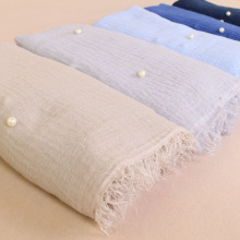 Мусульманский женский однотонный шарф-хиджаб, Женский хлопковый высококачественный платок с жемчугом, зимние шали 190x100 см