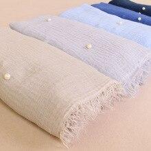 Pianura delle donne musulmane Hijab sciarpa Del Cotone femminile inchiodato qualità della perla foulard wrap scialli di inverno 190x100cm
