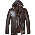2016 Новых Прибыть Бренд Кожаная Куртка Мужчины Высокое Качество Европа стиль Плюс Бархат Теплое С Капюшоном Пиджаки Мужская Мода PU Пальто 230