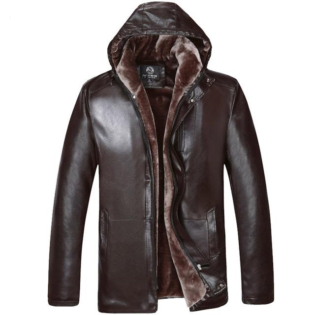 2016 Nuevo Llega la Marca de fábrica Hombres de la Chaqueta de Cuero de Alta Calidad de Europa estilo, Además de Terciopelo Con Capucha Caliente Outwear Hombres de La Manera Capa de LA PU 230