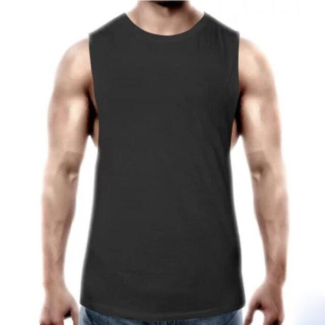 b49678bc66545 Fitness Clothing Mens Plain Sleeveless shirt Gyms Stringer Tank Top Blank  Workout Shirt Muscle Tee Bodybuilding Vest