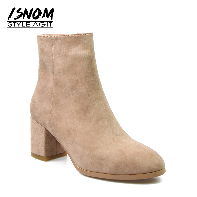 Comfortable Suede Leather Winter Boots Women s High Square Heel Shoes Zipper Ankle Boots font b