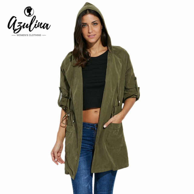 AZILINA Hooded Trench Coat for Women Long Sleeve Autumn Winter Windbreaker Belt Pockets Streetwear Army Green Female Overcoat