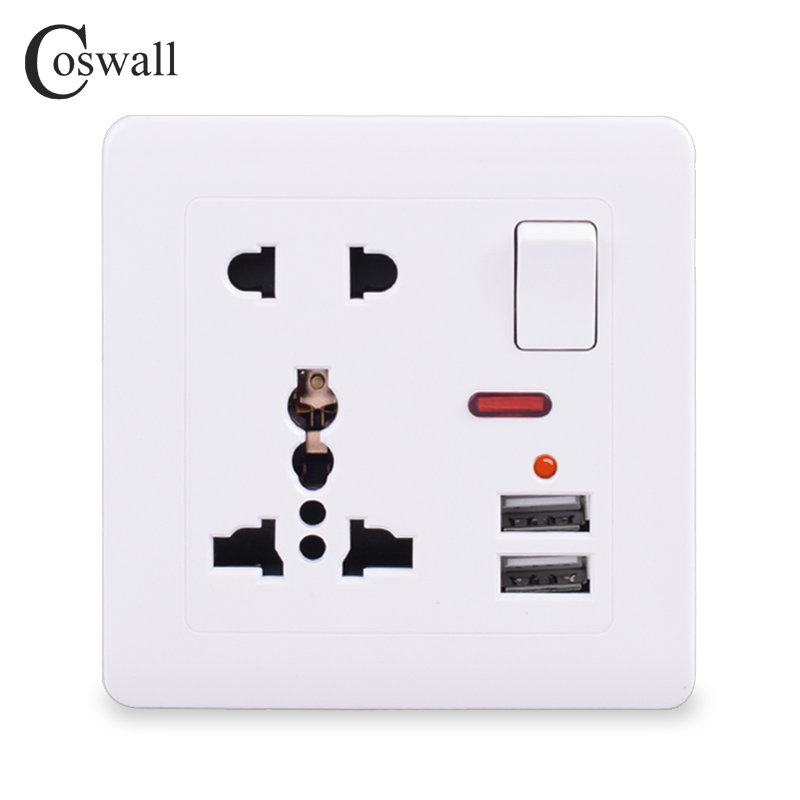 Coswall Wall Power Socket 13A Universal 5 Hole Switched Outlet 2.1A Dual USB Charger Port LED Indicator