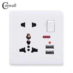 Coswall tomada de parede 13a universal 5 furos comutados 2.1a dupla porta carregador usb indicador led