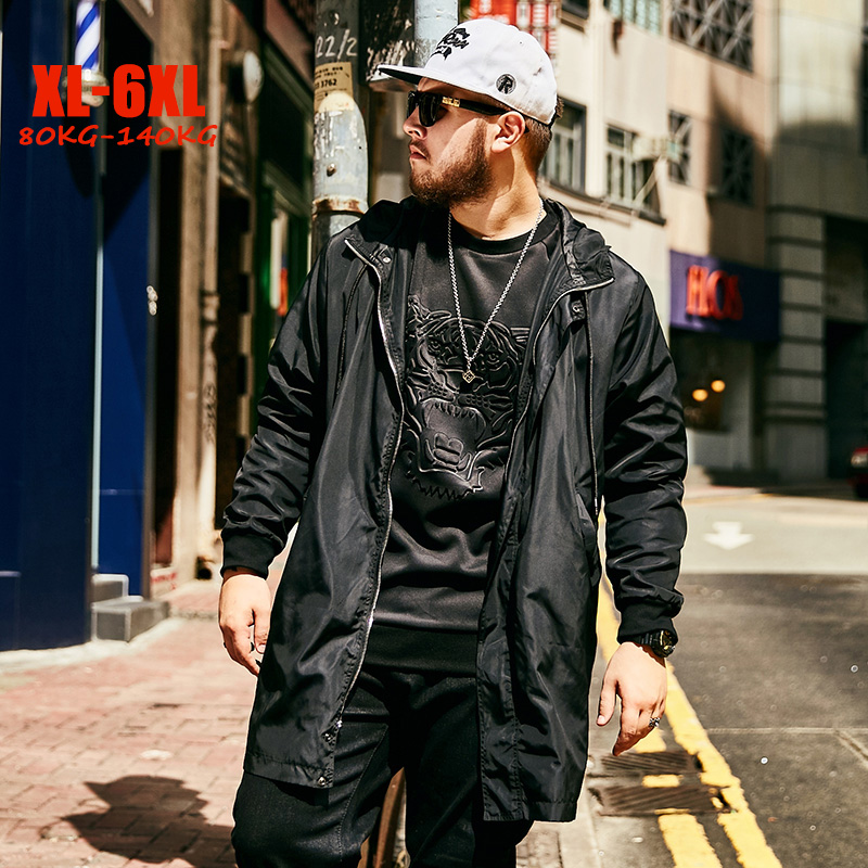 Fashion Plus Size   Trench   Coat Men Streetwear Print Long Men Coat Hip hop Big Men   trench   Hooded Long Outerwear Coats for men
