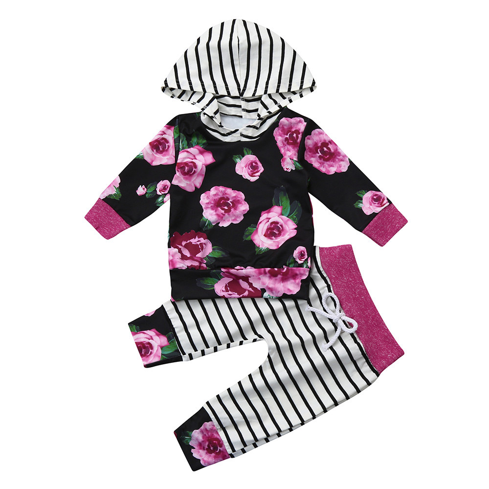 2pcs Toddler Baby Boy Girl Clothes Set Floral Print Hoodie Tops Pants Outfits baby girl clothes conjunto menino