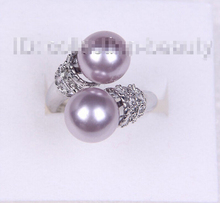 Free shipping >>>>>>stunning big 10mm round lavender south sea shell pearl ring m610