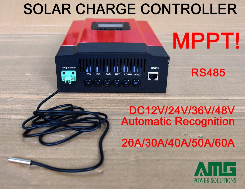 MPPT Solar Charge Controller 20A/30A/40A/50A/60A, DC12V/24V/36V/48V Automatic Recognition, with RS485 difault. (WIFI optional) 60a mppt solar charge controller with lcd 48v 24v 12v automatic recognition rs232 interface to communicate with computer smart1