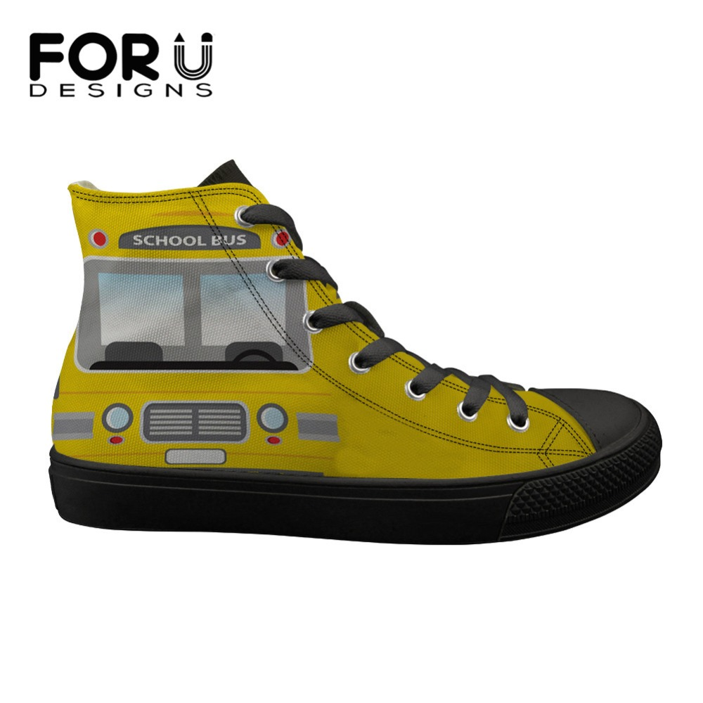 FORUDESIGNS School Bus Driver Cartoon Ladies Shoes High top Vulcanize Canvas Shoes for Female Lace Up