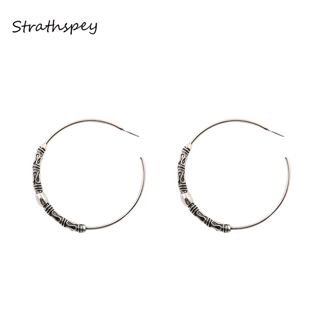 100ef1a1d STRATHSPEY Big Round Earrings Trendy Silver Color Fashion Jewelry Vintage  Antique 67mm Diameter Large Circle Earrings Women
