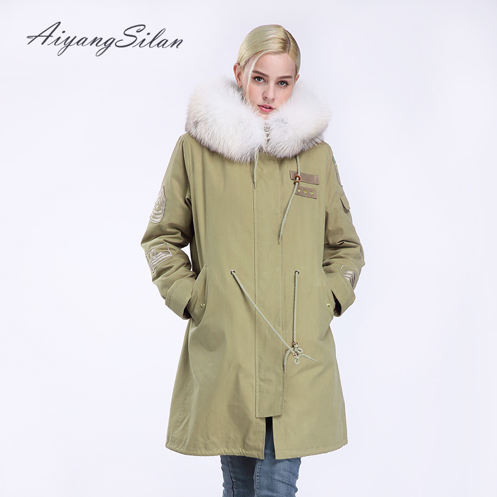 AiyangSilan Natural Fox Fur Collar Coat Real Rex Rabbit Fur Liner Jacket Women Fur Parka Long Hooded Warm Padded Parkas Coat aiyangsilan fox fur down liner detachable jacket long warm hooded ladies fur coats white real fox fur collar parka for women