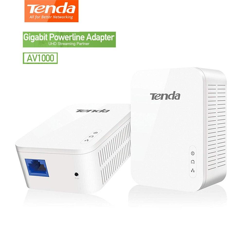 Tenda AV1000 1 paire Gigabit Powerline adaptateur jusqu'à 1000Mbps PH3 Ethernet PLC Homeplug pour partenaire de routeur WiFi sans fil IPTV AV2