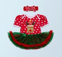 2ピースあたりセット新生児レッドポルカドット赤ちゃんの女の子クリスマスチュチュドレス付きカチューシャ用0-24months