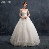 Tinh thể Beading Corset Wedding Dress 2017 Sweetheart Tay Tầng Chiều Dài Cộng Với Kích Thước Wedding Dresses Trắng Bridal Gonws