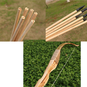 Toparchery Archery Wooden Bow and Arrow Set Hunting Bow with 3 Arrows and Quiver Rubber Tip Longbow Kids Hunting Toy Set