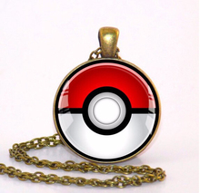 2017 New Pokemon Inspired Pendant Pokeball Necklace Glass Photo Cabochon Round Anime Jewelry Silver Pendants For Men Women