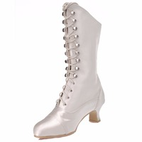 MB 039 Women Winter Fashion Knee High Ivory White Wedding Party Round Toe Ribbon Chunky Heel