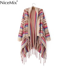 NiceMix 2017 Autumn Women Poncho Cardigan Cape Long Tassel Sweater Casual Striped Coats Plus Size Vintage Female Cardigans plus size striped tassel tee