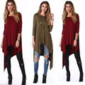 t shirt women 2017 casual Auutmn New arrival Women O-neck fashion Loose plus size Asymmetric long sleeve Tunic T-shirt Dress HOT