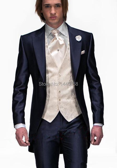 2017 Fraque Estilo Manhã Casamento Mens Ternos Smoking Do Noivo Do Casamento Smoking Padrinhos Terno Azul Marinho 3 Peça Best Men Suit
