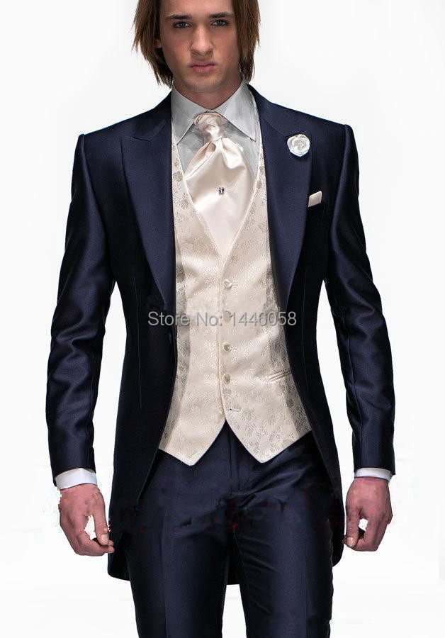 2017 Tailcoat Morning Style Mens Wedding Suits Navy Blue Groom Tuxedos Groomsmen Suit 3