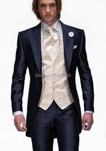 2017 Tailcoat Morning Style Mens Wedding Suits Navy Blue Groom Tuxedos Wedding Tuxedos Groomsmen Suit 3 Piece Best Men Suit