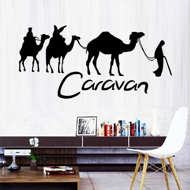 03e03e96c1 Welcome Decals Caravan And Camel Wall Stickers Wallpapers Large Art Sticker  People For Living Room Decoration Sweet Room