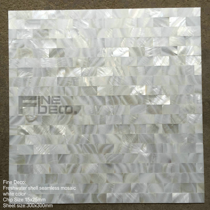 Angel White Freshwater Shell Tile Seamless On Mesh Field And Subway