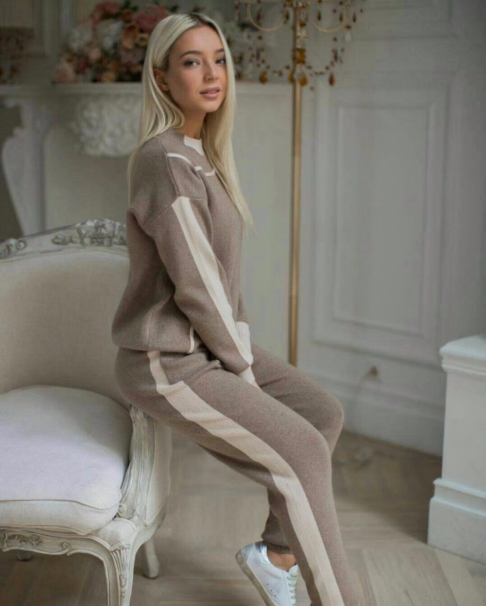 Fashion Brand Winter Woolen And Cashmere Knitted Warm Suit Hit Color Sweater + Mink Cashmere Trousers Leisure Two-piece Wj1296