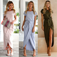 Belva Women S Long Maxi Dress Bohemian Split Skirt Belt Dress Bridesmaid Maternity Dress Clothes For