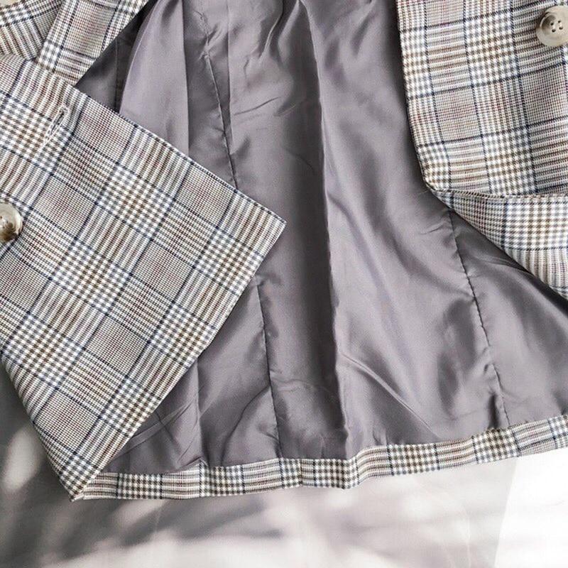 Casual Plaid Women Blazer Jacket Notched Collar Double Breasted Female Suit Coat Fashion Outerwear blaser femme Jacket 31